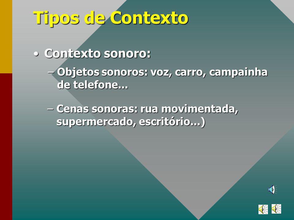 Tipos de Contexto Contexto sonoro:Contexto sonoro: –Objetos sonoros: voz, carro, campainha de telefone...