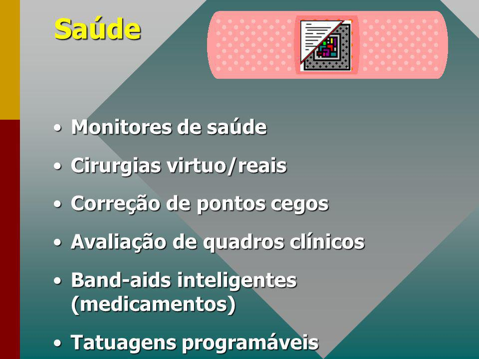 Saúde Monitores de saúdeMonitores de saúde Cirurgias virtuo/reaisCirurgias virtuo/reais Correção de pontos cegosCorreção de pontos cegos Avaliação de quadros clínicosAvaliação de quadros clínicos Band-aids inteligentes (medicamentos)Band-aids inteligentes (medicamentos) Tatuagens programáveisTatuagens programáveis