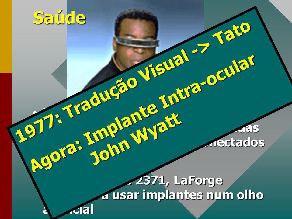 Saúde VISOR - visão do espectro eletromagnético (calor, luz e ondas de rádio) com implantes conectados ao cérebroVISOR - visão do espectro eletromagnético (calor, luz e ondas de rádio) com implantes conectados ao cérebro Em meados de 2371, LaForge começou a usar implantes num olho artificialEm meados de 2371, LaForge começou a usar implantes num olho artificial 1977: Tradução Visual -> Tato Agora: Implante Intra-ocular John Wyatt