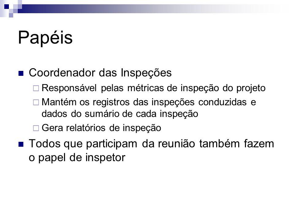 Papéis Coordenador das Inspeções  Responsável pelas métricas de inspeção do projeto  Mantém os registros das inspeções conduzidas e dados do sumário de cada inspeção  Gera relatórios de inspeção Todos que participam da reunião também fazem o papel de inspetor