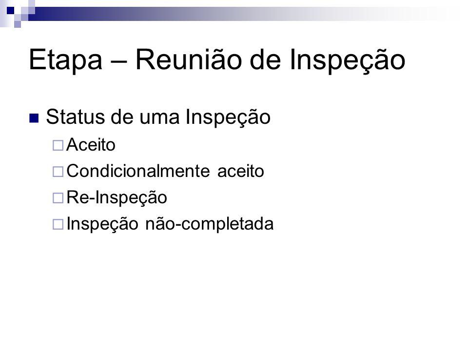 Etapa – Reunião de Inspeção Status de uma Inspeção  Aceito  Condicionalmente aceito  Re-Inspeção  Inspeção não-completada