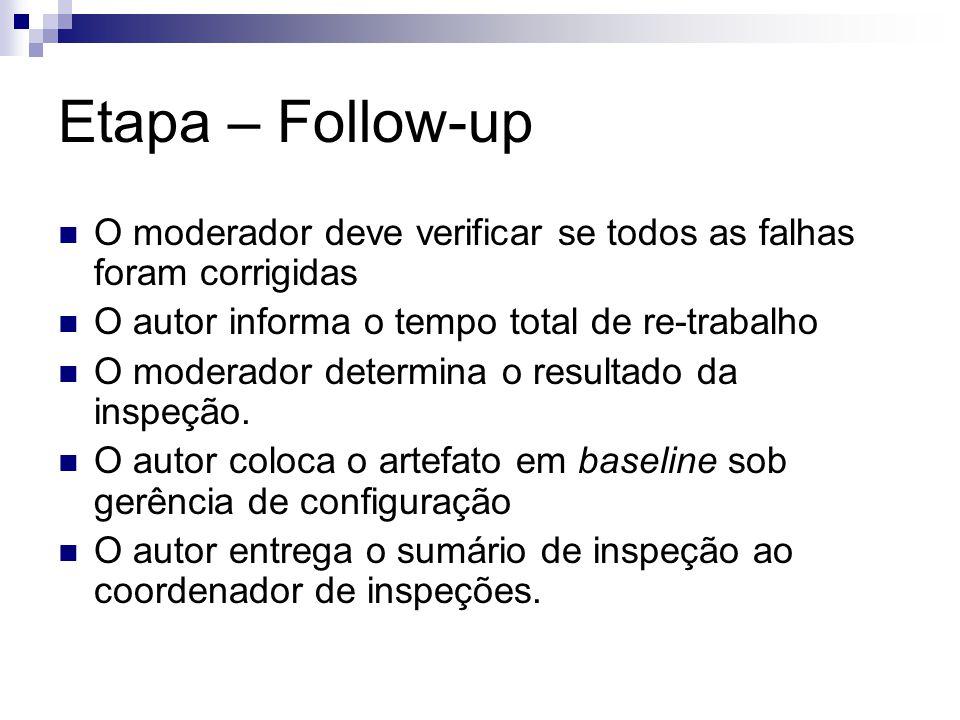 Etapa – Follow-up O moderador deve verificar se todos as falhas foram corrigidas O autor informa o tempo total de re-trabalho O moderador determina o resultado da inspeção.