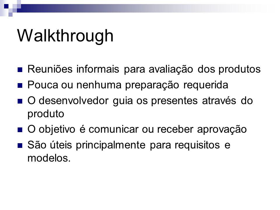 Walkthrough Reuniões informais para avaliação dos produtos Pouca ou nenhuma preparação requerida O desenvolvedor guia os presentes através do produto O objetivo é comunicar ou receber aprovação São úteis principalmente para requisitos e modelos.
