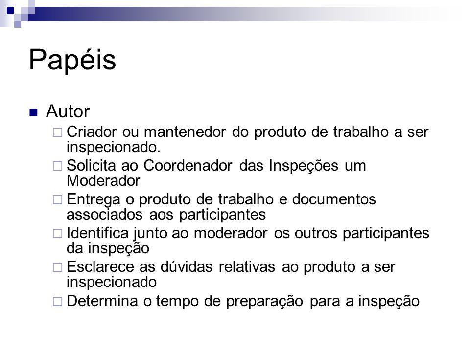 Papéis Autor  Criador ou mantenedor do produto de trabalho a ser inspecionado.