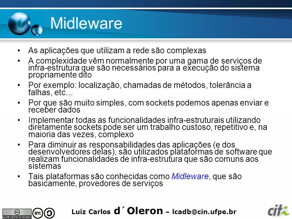 Luiz Carlos d´Oleron – lcadb@cin.ufpe.br Midleware As aplicações que utilizam a rede são complexas A complexidade vêm normalmente por uma gama de serviços de infra-estrutura que são necessários para a execução do sistema propriamente dito Por exemplo: localização, chamadas de métodos, tolerância a falhas, etc...