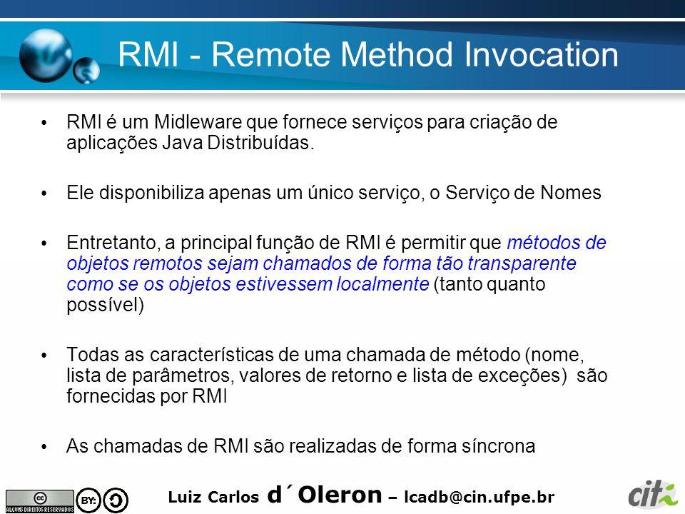 Luiz Carlos d´Oleron – lcadb@cin.ufpe.br RMI - Remote Method Invocation RMI é um Midleware que fornece serviços para criação de aplicações Java Distribuídas.