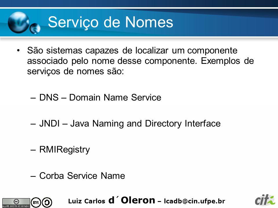 Luiz Carlos d´Oleron – lcadb@cin.ufpe.br Serviço de Nomes São sistemas capazes de localizar um componente associado pelo nome desse componente.