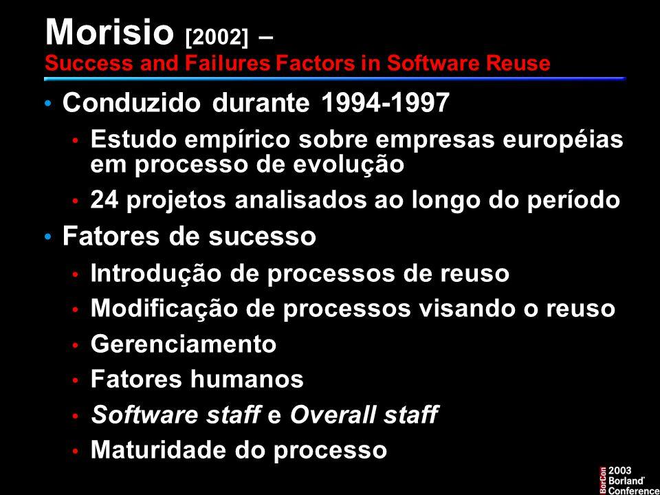 Morisio [2002] – Success and Failures Factors in Software Reuse Conduzido durante 1994-1997 Estudo empírico sobre empresas européias em processo de evolução 24 projetos analisados ao longo do período Fatores de sucesso Introdução de processos de reuso Modificação de processos visando o reuso Gerenciamento Fatores humanos Software staff e Overall staff Maturidade do processo
