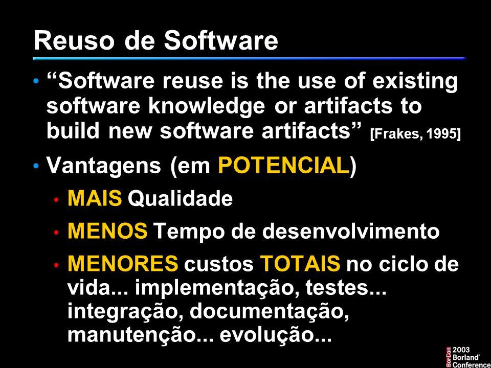 Reuso de Software Software reuse is the use of existing software knowledge or artifacts to build new software artifacts [Frakes, 1995] Vantagens (em POTENCIAL) MAIS Qualidade MENOS Tempo de desenvolvimento MENORES custos TOTAIS no ciclo de vida...