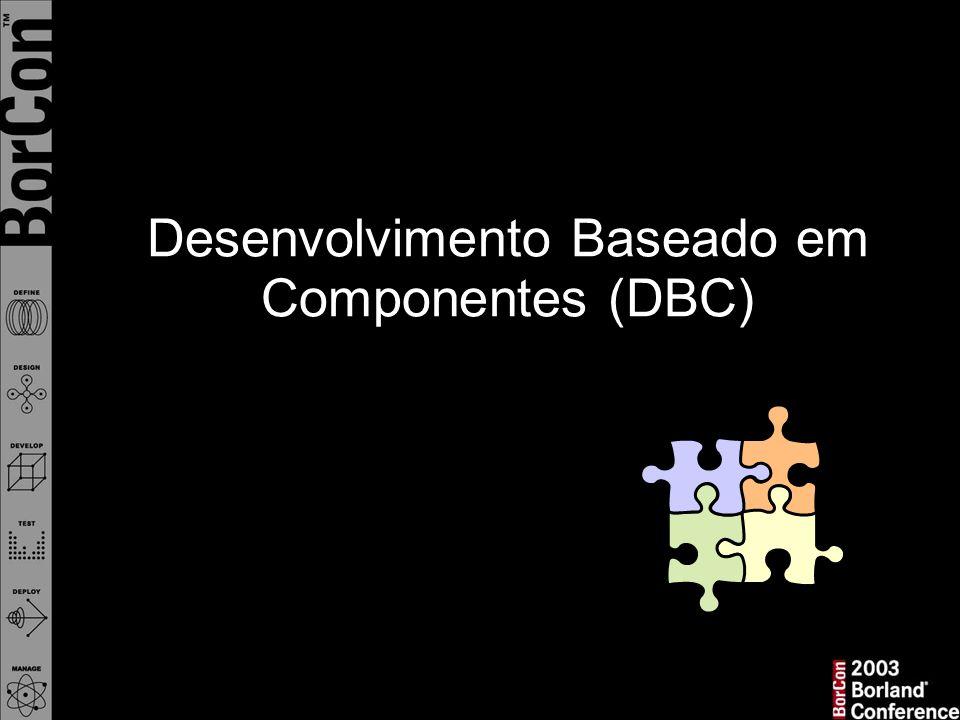 Visão clássica de desenvolvimento SW = Blocos monolíticos Grande número de partes inter- relacionadas num mundo integral ...um cenário em que DBC quebra tais blocos {simplificar!}… para reduzir complexidade e custo de desenvolvimento… num mundo distribuído…