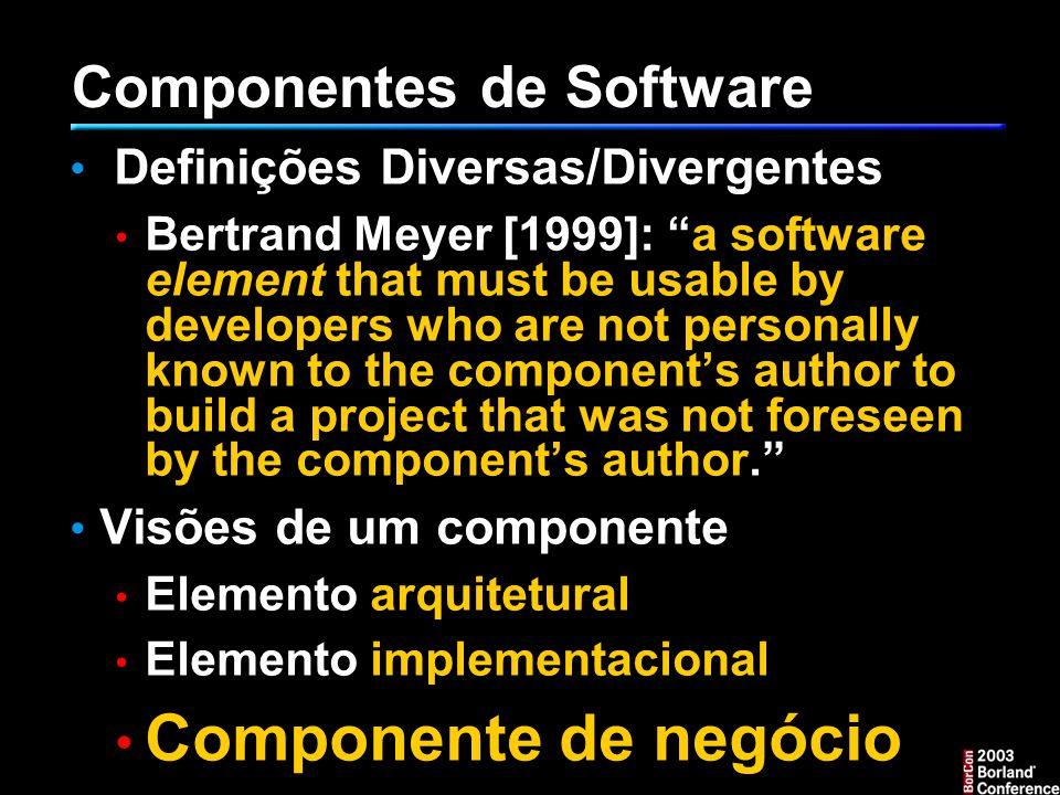 O caso da Motorola Software Reuse at Motorola [Rebecca Joos, IEEE SW 94] Transição inicial: Mudança hardware – software......implicava em transformar engenharia de software numa prioridade para o negócio fases do plano de reuso: 1.