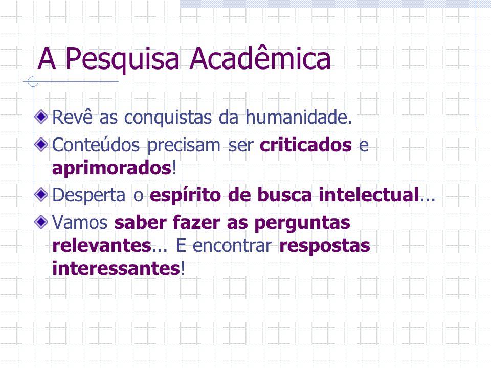 A Pesquisa Acadêmica Revê as conquistas da humanidade.