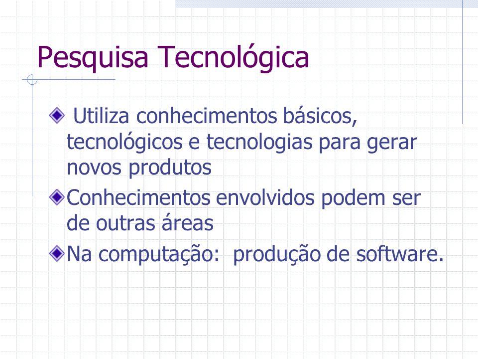 Pesquisa Tecnológica Utiliza conhecimentos básicos, tecnológicos e tecnologias para gerar novos produtos Conhecimentos envolvidos podem ser de outras áreas Na computação: produção de software.