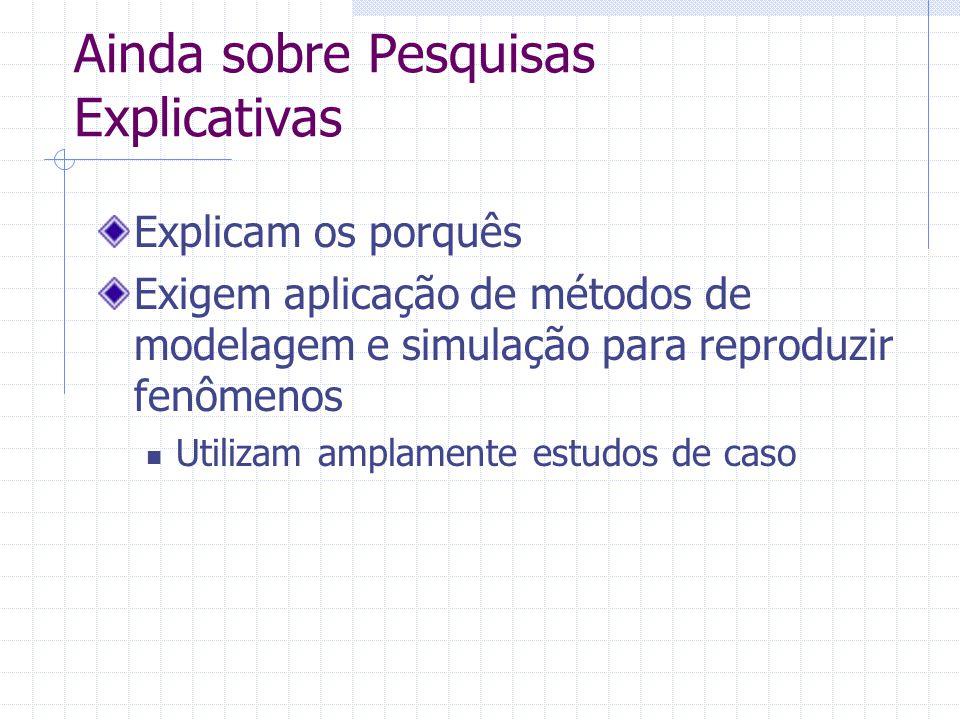 Ainda sobre Pesquisas Explicativas Explicam os porquês Exigem aplicação de métodos de modelagem e simulação para reproduzir fenômenos Utilizam amplamente estudos de caso