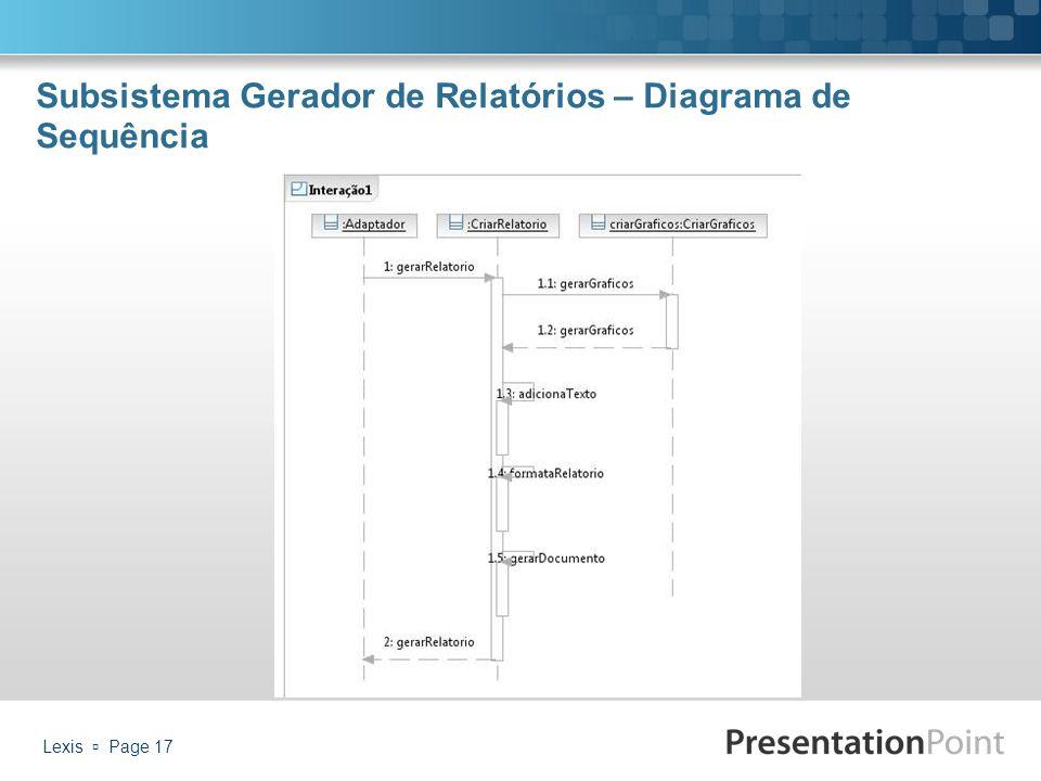 Subsistema Gerador de Relatórios – Diagrama de Sequência Lexis  Page 17