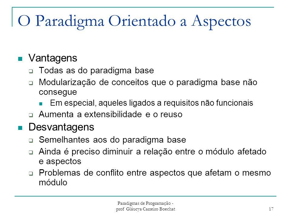 Paradigmas de Programação - prof Gláucya Carreiro Boechat 17 O Paradigma Orientado a Aspectos Vantagens  Todas as do paradigma base  Modularização de conceitos que o paradigma base não consegue Em especial, aqueles ligados a requisitos não funcionais  Aumenta a extensibilidade e o reuso Desvantagens  Semelhantes aos do paradigma base  Ainda é preciso diminuir a relação entre o módulo afetado e aspectos  Problemas de conflito entre aspectos que afetam o mesmo módulo