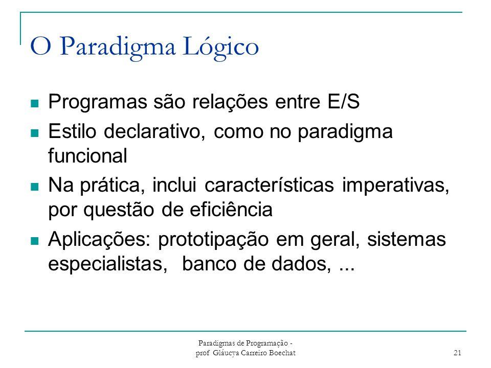 Paradigmas de Programação - prof Gláucya Carreiro Boechat 21 O Paradigma Lógico Programas são relações entre E/S Estilo declarativo, como no paradigma funcional Na prática, inclui características imperativas, por questão de eficiência Aplicações: prototipação em geral, sistemas especialistas, banco de dados,...