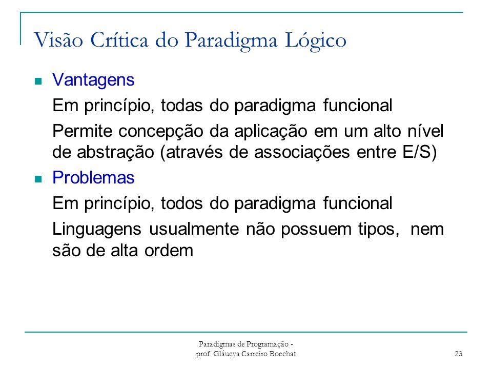 Paradigmas de Programação - prof Gláucya Carreiro Boechat 23 Visão Crítica do Paradigma Lógico Vantagens Em princípio, todas do paradigma funcional Permite concepção da aplicação em um alto nível de abstração (através de associações entre E/S) Problemas Em princípio, todos do paradigma funcional Linguagens usualmente não possuem tipos, nem são de alta ordem