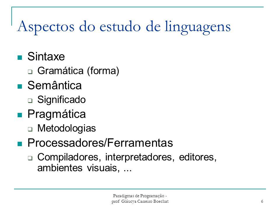 Paradigmas de Programação - prof Gláucya Carreiro Boechat 6 Aspectos do estudo de linguagens Sintaxe  Gramática (forma) Semântica  Significado Pragmática  Metodologias Processadores/Ferramentas  Compiladores, interpretadores, editores, ambientes visuais,...