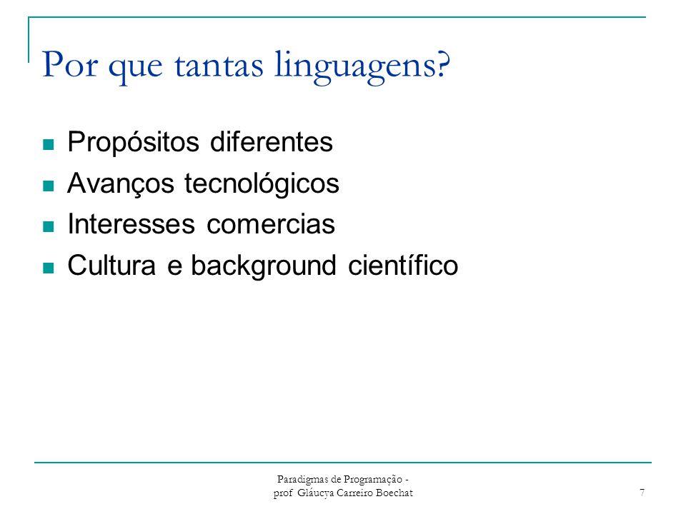 Paradigmas de Programação - prof Gláucya Carreiro Boechat 7 Por que tantas linguagens.