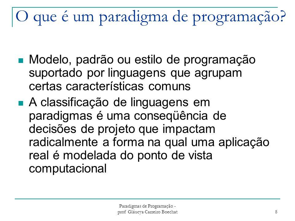 Paradigmas de Programação - prof Gláucya Carreiro Boechat 9 O Paradigma Imperativo Programas centrados no conceito de um estado (modelado por variáveis) e ações (comandos) que manipulam o estado Também conhecido como paradigma procedural  Inclui subrotinas ou procedimentos como mecanismo de estruturação Primeiro paradigma a surgir  Ainda é muito utilizado
