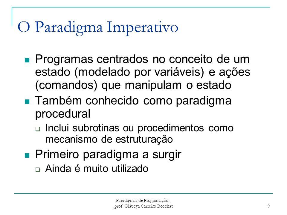 Paradigmas de Programação - prof Gláucya Carreiro Boechat 10 Modelo Computacional do Paradigma Imperativo Entrada Programa Saída Estado