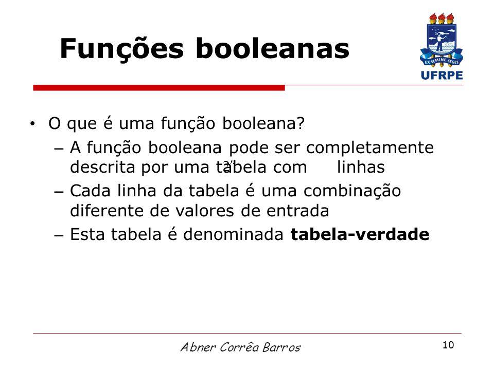 10 Funções booleanas O que é uma função booleana? – A função booleana pode ser completamente descrita por uma tabela com linhas – Cada linha da tabela