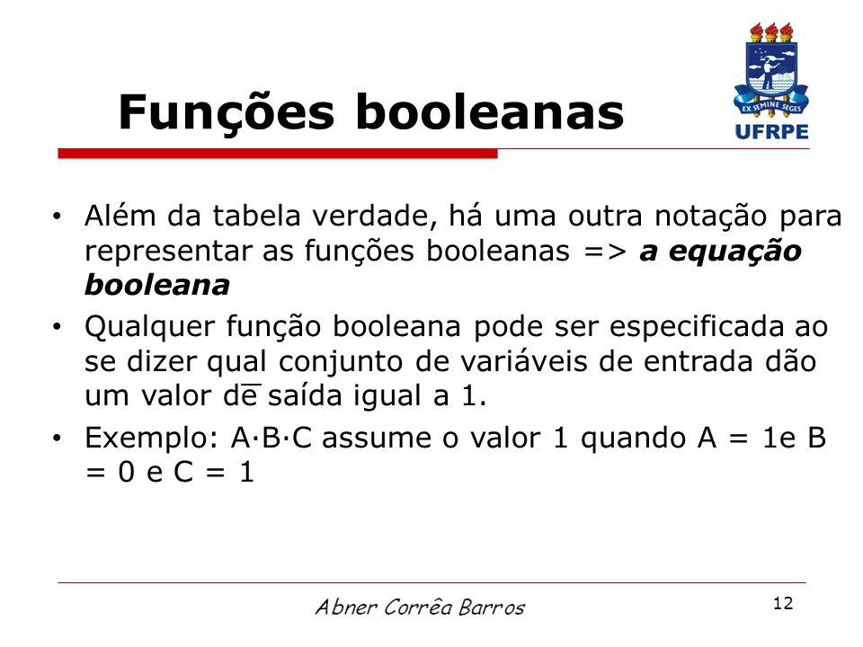 12 Funções booleanas Além da tabela verdade, há uma outra notação para representar as funções booleanas => a equação booleana Qualquer função booleana