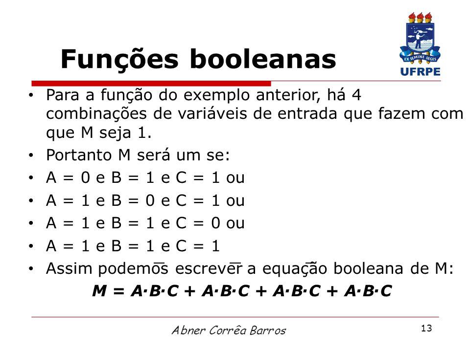 13 Funções booleanas Para a função do exemplo anterior, há 4 combinações de variáveis de entrada que fazem com que M seja 1. Portanto M será um se: A