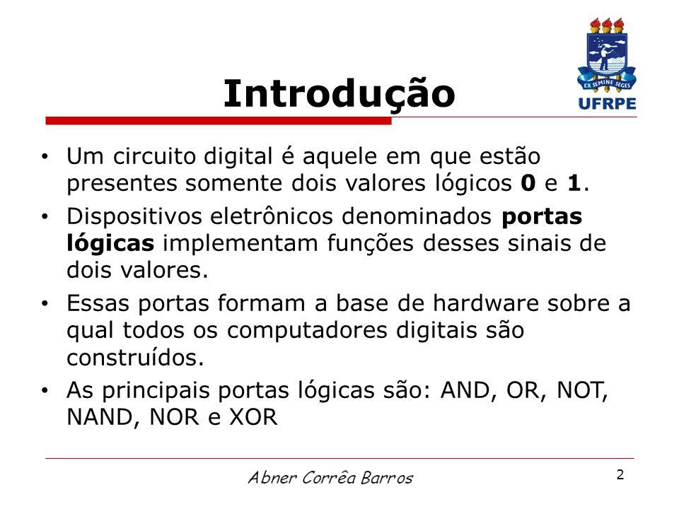 2 Introdução Um circuito digital é aquele em que estão presentes somente dois valores lógicos 0 e 1. Dispositivos eletrônicos denominados portas lógic