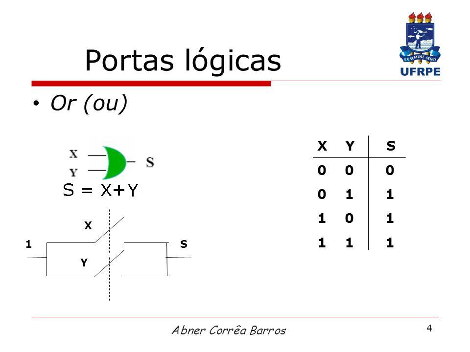 4 Portas lógicas Or (ou) X Y 1S X Y S 0 0 0 0 1 1 1 0 1 1 1 1