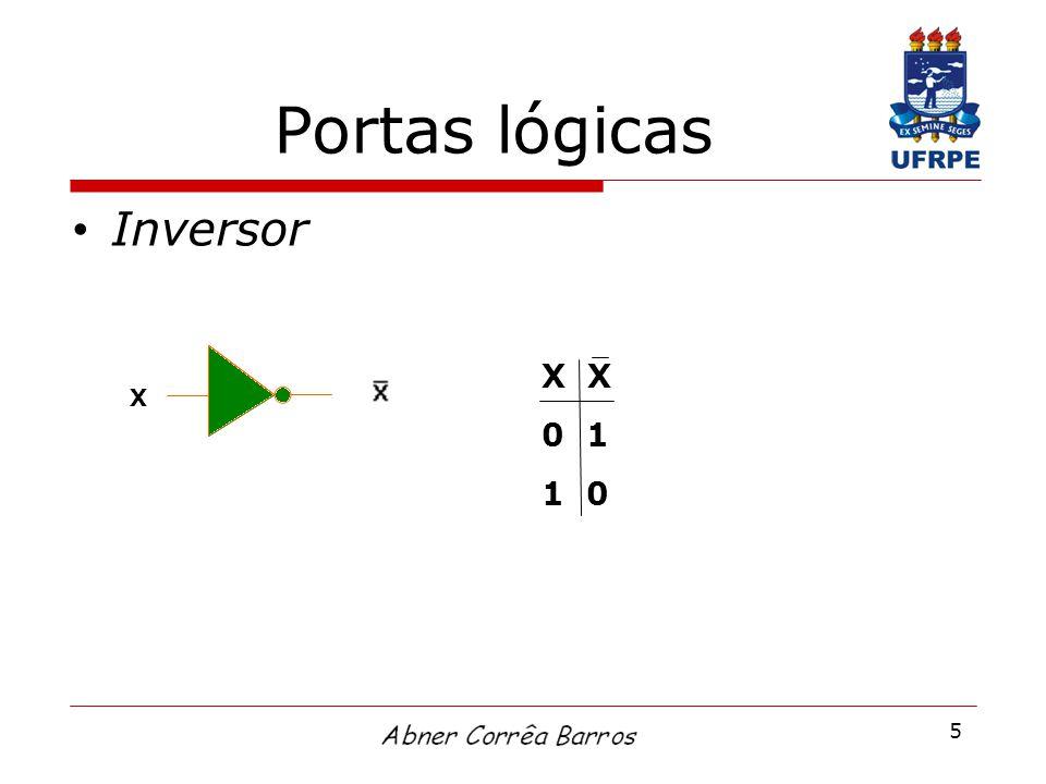 5 Portas lógicas Inversor X 0 1 1 0 X