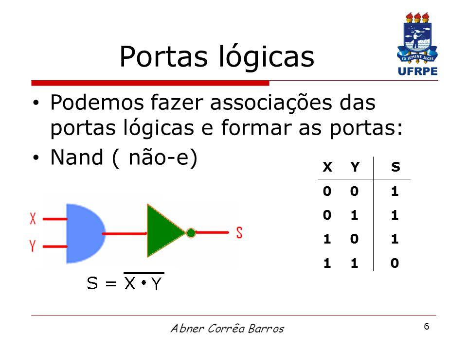 6 Portas lógicas Podemos fazer associações das portas lógicas e formar as portas: Nand ( não-e) X Y S 0 0 1 0 1 1 1 0 1 1 1 0