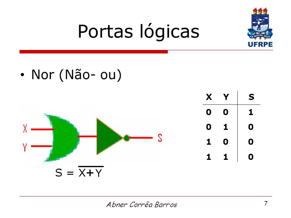 7 Portas lógicas Nor (Não- ou) X Y S 0 0 1 0 1 0 1 0 0 1 1 0