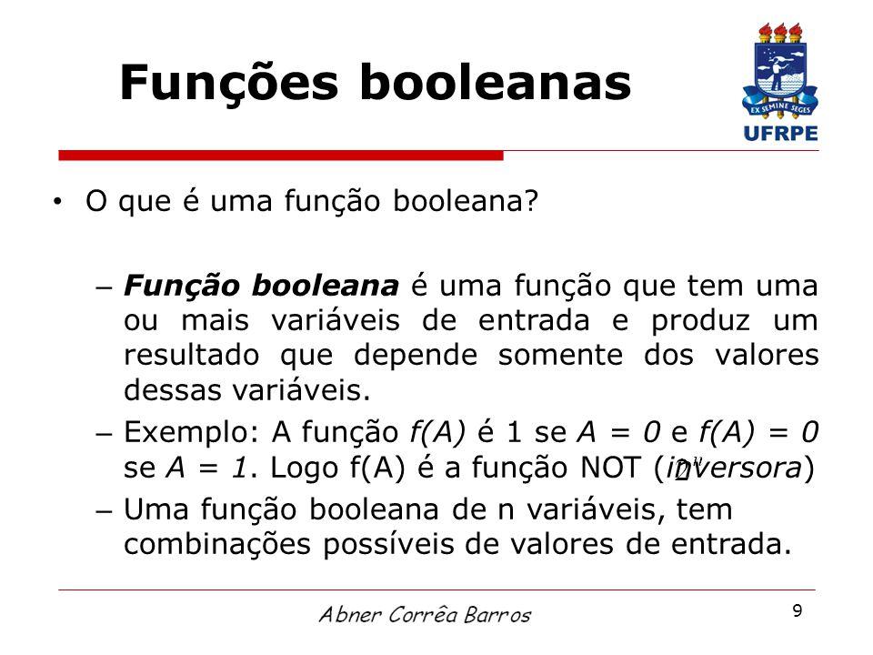 9 Funções booleanas O que é uma função booleana? – Função booleana é uma função que tem uma ou mais variáveis de entrada e produz um resultado que dep