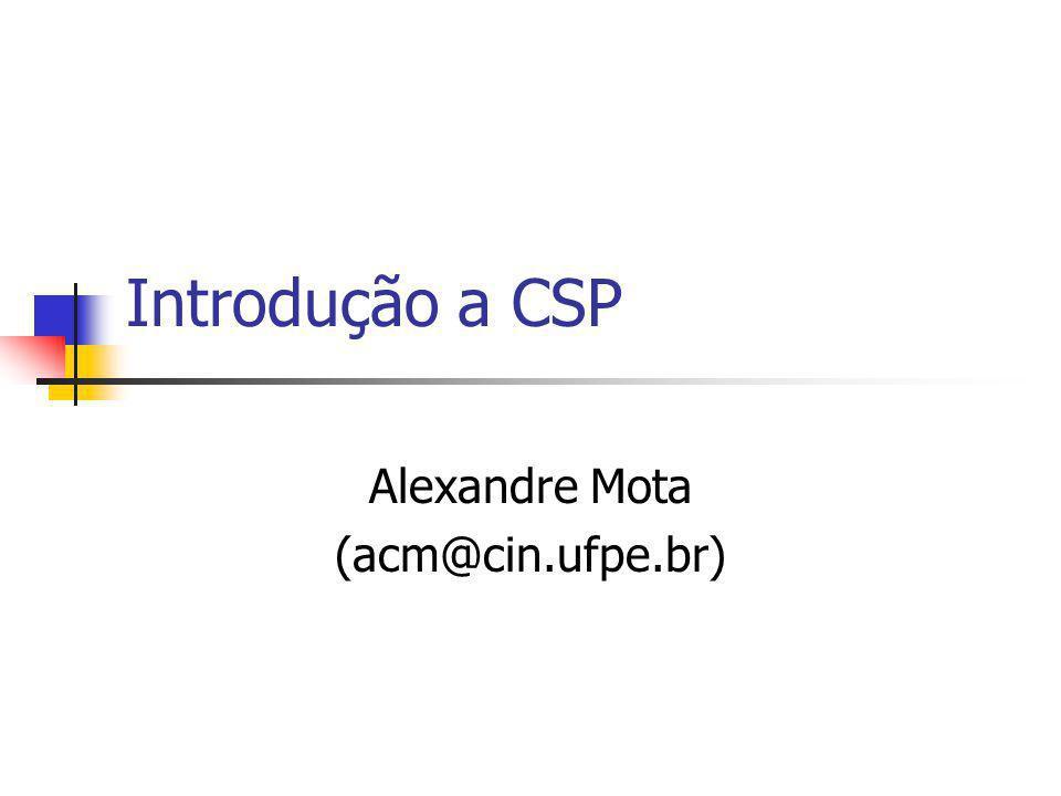 Objetivos Apresentar a linguagem CSP Destacar os principais elementos de CSP Apresentar correspondência entre fluxo de eventos e CSP através de exemplo Possíveis ligações entre CSP e UML