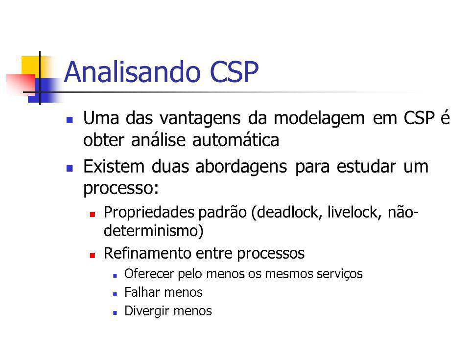 Analisando CSP Uma das vantagens da modelagem em CSP é obter análise automática Existem duas abordagens para estudar um processo: Propriedades padrão