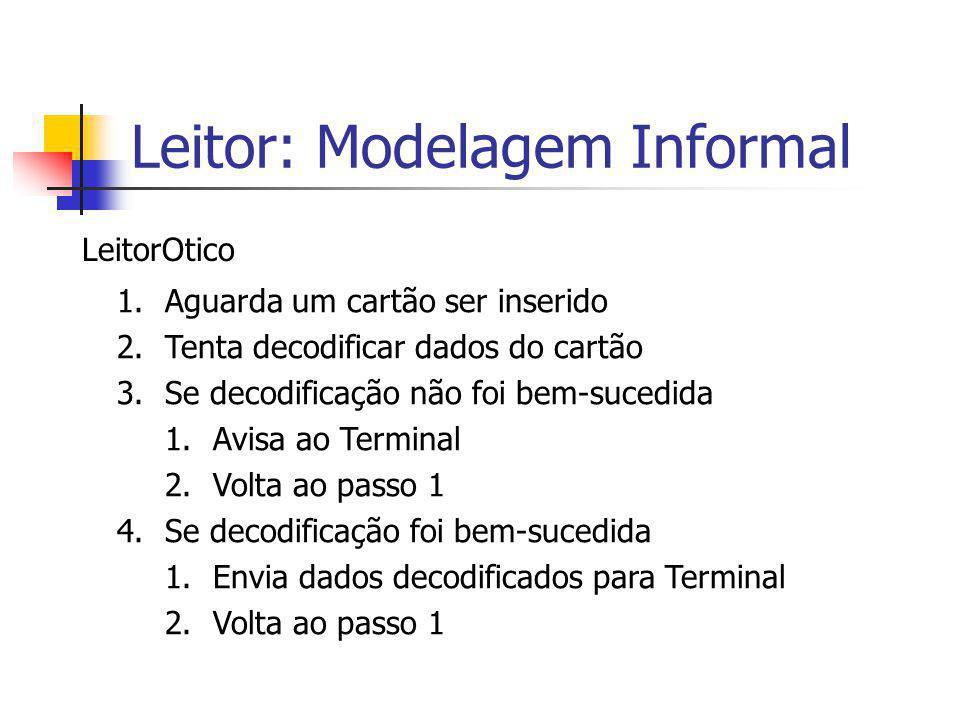Leitor: Modelagem Formal LeitorOtico = cartao?dados  AnalisaDados(dados) decodNOk  LeitorOtico decodOk  EnviaCA(dados) AnalisaDados(dados) = EnviaCA(dados) = transf!dec(dados)  LeitorOtico