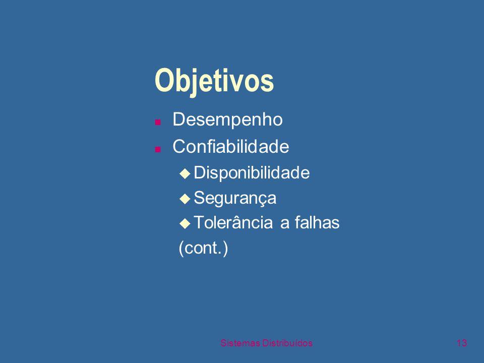 Sistemas Distribuídos13 Objetivos n Desempenho n Confiabilidade u Disponibilidade u Segurança u Tolerância a falhas (cont.)