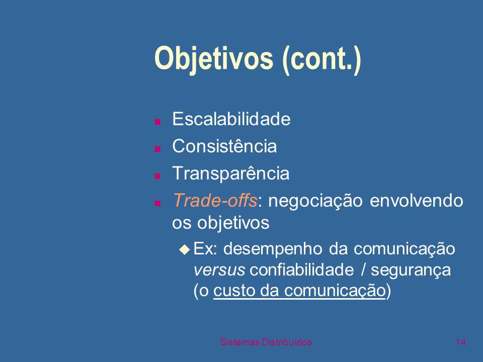Sistemas Distribuídos14 Objetivos (cont.) n Escalabilidade n Consistência n Transparência n Trade-offs: negociação envolvendo os objetivos u Ex: desempenho da comunicação versus confiabilidade / segurança (o custo da comunicação)