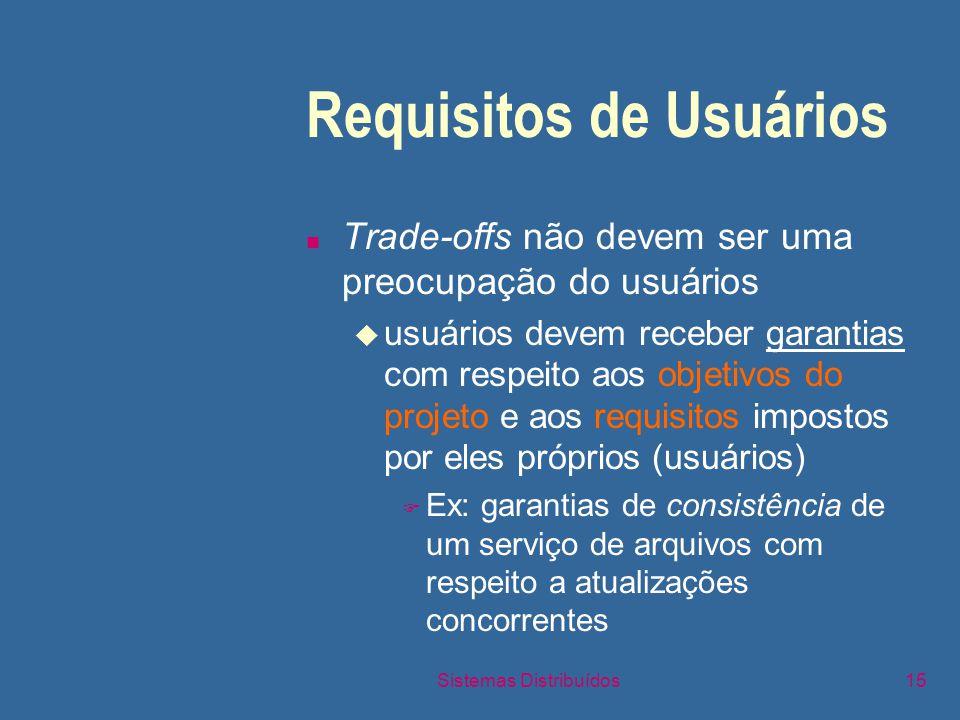 Sistemas Distribuídos15 Requisitos de Usuários n Trade-offs não devem ser uma preocupação do usuários u usuários devem receber garantias com respeito aos objetivos do projeto e aos requisitos impostos por eles próprios (usuários) F Ex: garantias de consistência de um serviço de arquivos com respeito a atualizações concorrentes