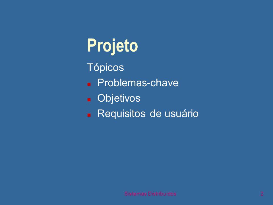 Sistemas Distribuídos2 Projeto Tópicos n Problemas-chave n Objetivos n Requisitos de usuário
