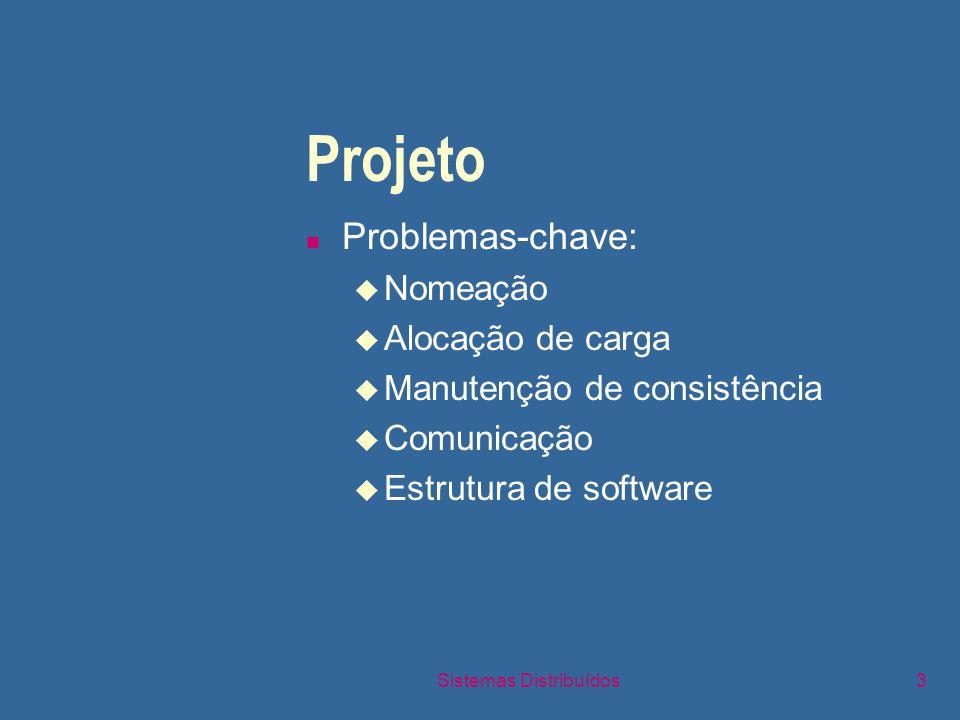 Sistemas Distribuídos3 Projeto n Problemas-chave: u Nomeação u Alocação de carga u Manutenção de consistência u Comunicação u Estrutura de software