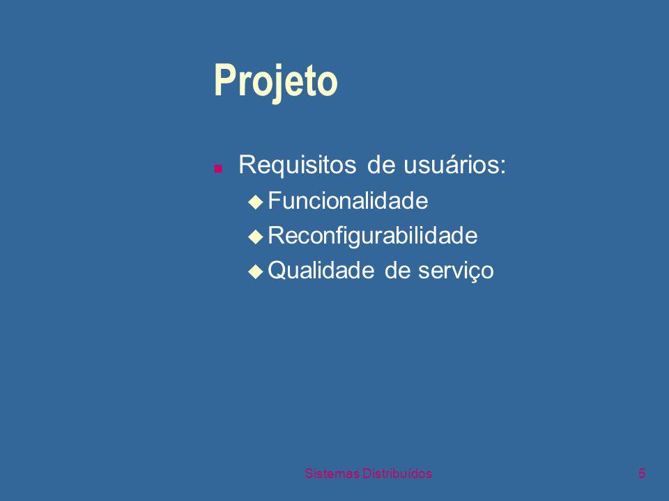 Sistemas Distribuídos5 Projeto n Requisitos de usuários: u Funcionalidade u Reconfigurabilidade u Qualidade de serviço