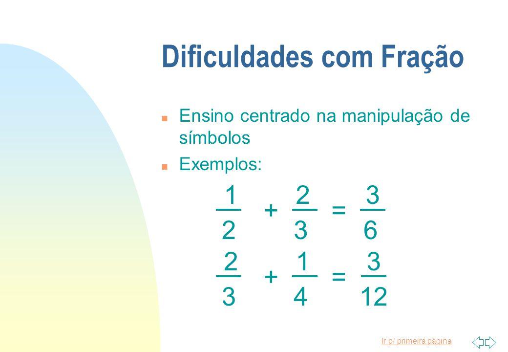 Ir p/ primeira página Dificuldades com Fração n Ensino centrado na manipulação de símbolos n Exemplos: 123 623 += 213 1234 +=
