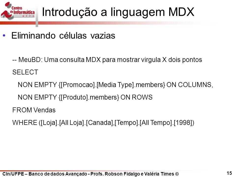 CIn/UFPE – Banco de dados Avançado - Profs. Robson Fidalgo e Valéria Times  15 Introdução a linguagem MDX Eliminando células vazias -- MeuBD: Uma con