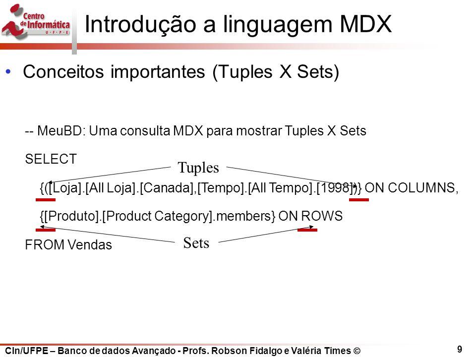 CIn/UFPE – Banco de dados Avançado - Profs. Robson Fidalgo e Valéria Times  9 Introdução a linguagem MDX Conceitos importantes (Tuples X Sets) -- Meu