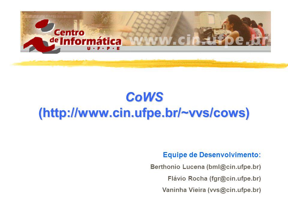 CoWS (http://www.cin.ufpe.br/~vvs/cows) Equipe de Desenvolvimento: Berthonio Lucena (bml@cin.ufpe.br) Flávio Rocha (fgr@cin.ufpe.br) Vaninha Vieira (vvs@cin.ufpe.br)