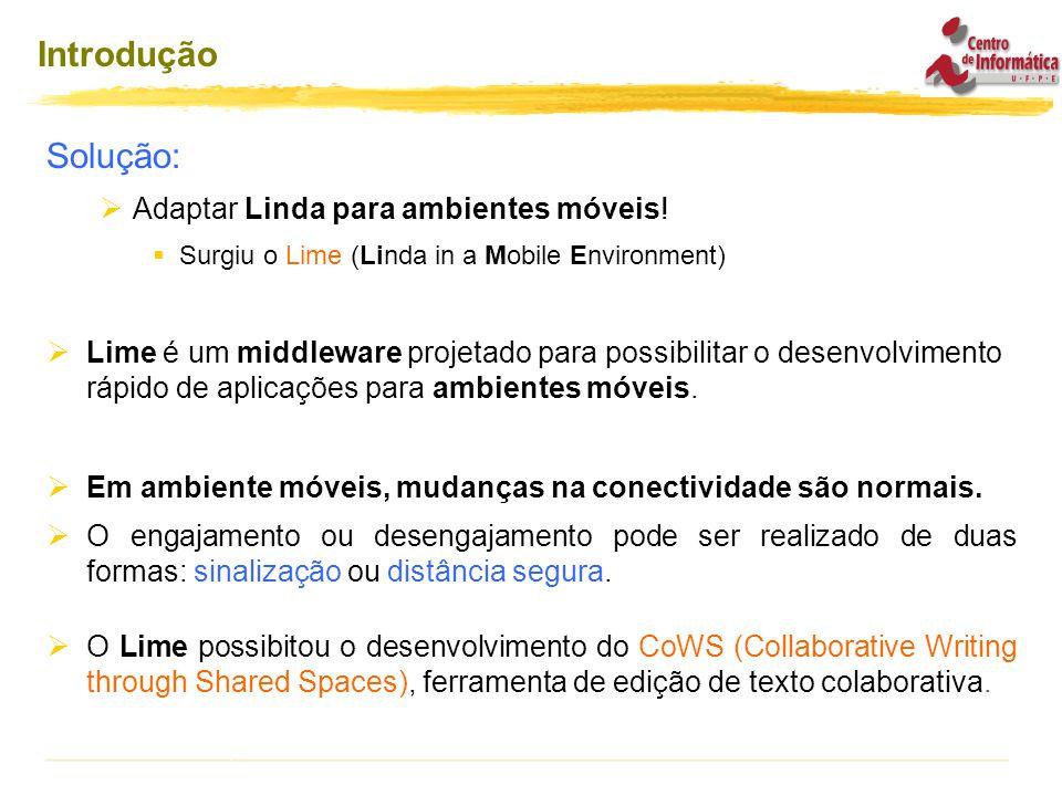 Introdução Solução:  Adaptar Linda para ambientes móveis.