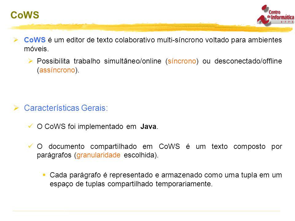  CoWS é um editor de texto colaborativo multi-síncrono voltado para ambientes móveis.